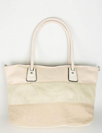 Γυναικεία μπεζ τσάντα ώμου υφασμάτινη 249249