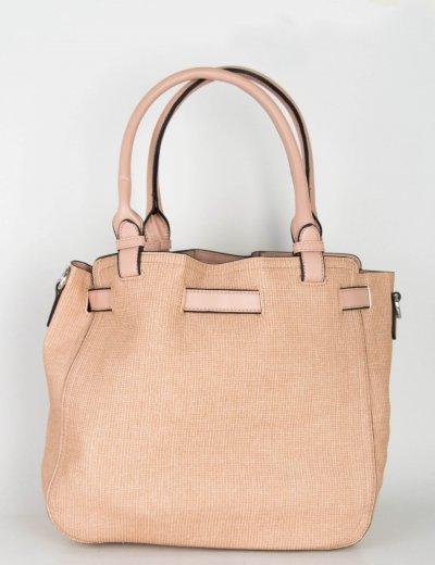Γυναικεία ροζ τσάντα ώμου μονόχρωμη ανάγλυφη 266266R