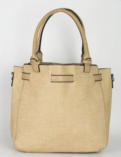 Γυναικεία μπεζ τσάντα ώμου μονόχρωμη ανάγλυφη 266266F