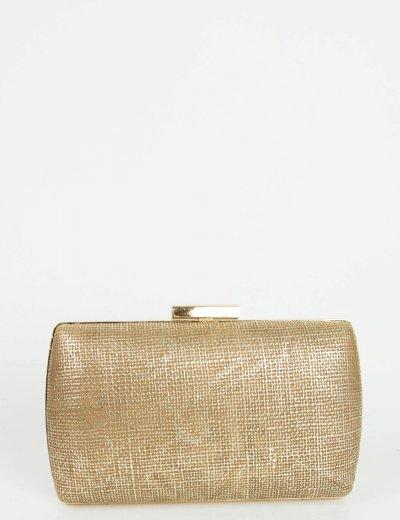 Γυναικείο καφέ μεταλλιζέ τσαντάκι Hardcase Clutch JK08