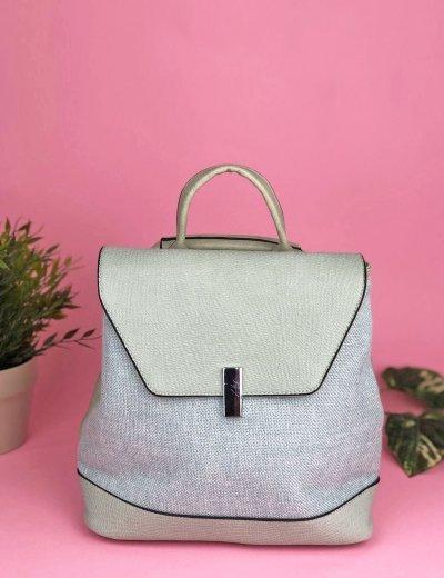 Γυναικεία σιέλ τσάντα πλάτης δερματίνη υφασμάτινη 18026S