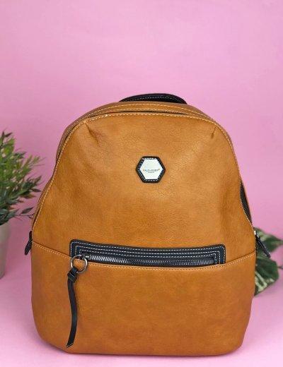 Γυναικεία κάμελ τσάντα πλάτης μονόχρωμη David Jones CM5326Q