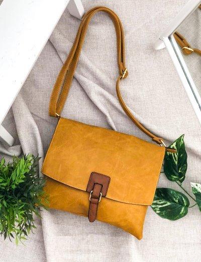 Γυναικεία ώχρα τσάντα χιαστί δερματίνη 9340124S