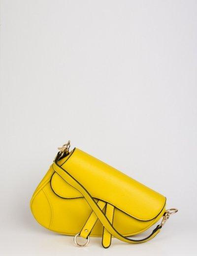 Γυναικείο κίτρινο τσαντάκι ώμου ασύμμετρο 60976Y