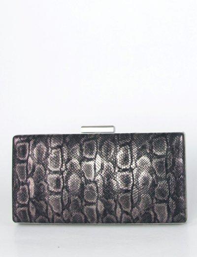 Γυναικείο μαύρο κροκό τσαντάκι Hardcase Clutch Glitter JKL18