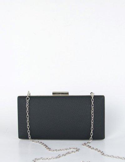 Γυναικείο μαύρο τσαντάκι Hardcase Clutch με χρυσόσκονη JKB92
