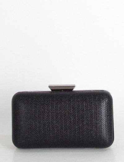 Γυναικείο μαύρο τσαντάκι Hardcase Clutch Glitter DA2519N