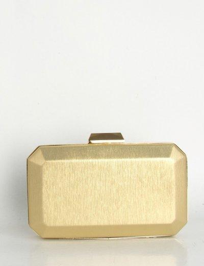 Γυναικείος χρυσή φάκελος Hardcase Clutch ιριδίζον B2063L