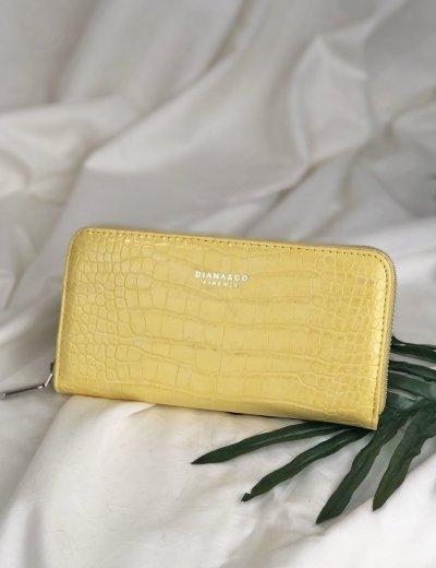 Γυναικείο κίτρινο Croco πορτοφόλι με φερμουάρ DFX18922