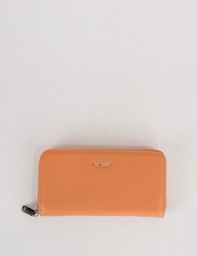 Γυναικείο ροδακινί πορτοφόλι δερματίνη με φερμουάρ DFX18902