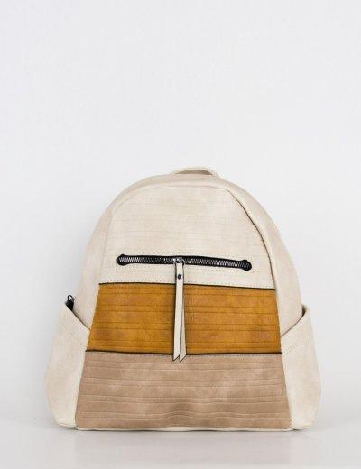 Γυναικείο εκρού τρίχρωμο οβάλ Backpack 106210