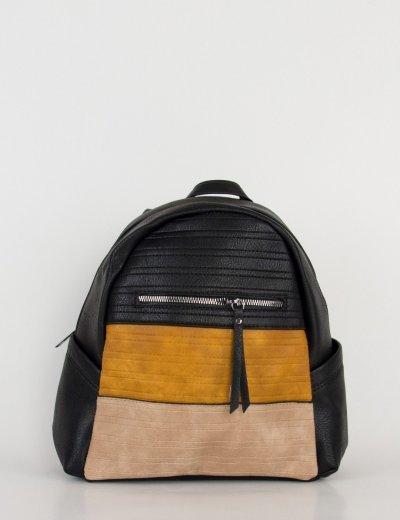Γυναικείο μαύρο τρίχρωμο οβάλ Backpack 106210D