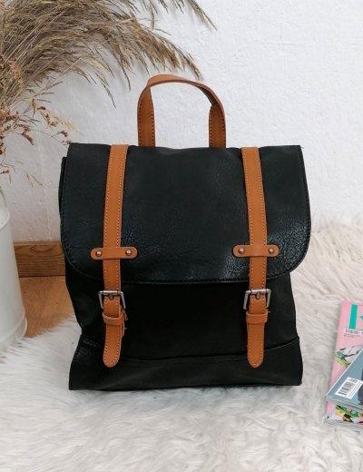 Γυναικείο μαύρο Backpack με λουράκια 20061