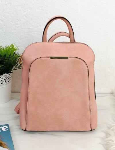 Γυναικείο ροζ οβάλ Backpack δερματίνη 15629R
