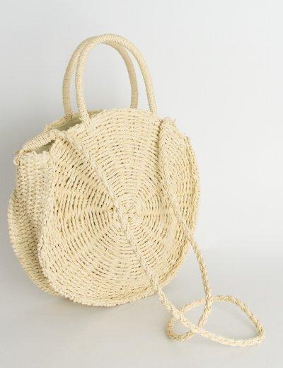 Γυναικεία μπεζ τσάντα χειρός στρογγυλή ψάθινη 833112R