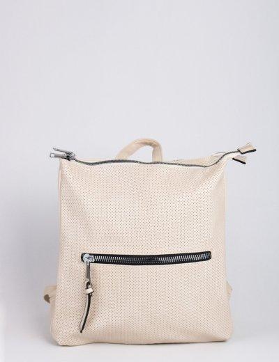 Γυναικεία εκρού τσάντα πλάτης τετράγωνη δερματίνη 796850