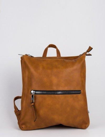 Γυναικεία κάμελ τσάντα πλάτης τετράγωνη δερματίνη 796850L