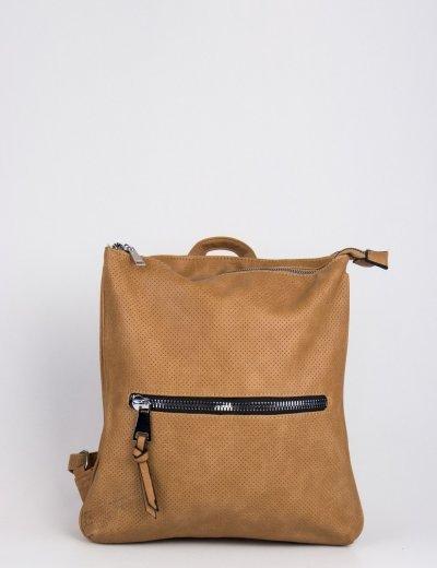Γυναικεία καφέ τσάντα πλάτης τετράγωνη δερματίνη 796850K