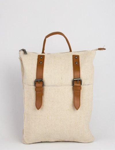 Γυναικείο μπεζ υφασμάτινο Backpack με λουράκια E7348