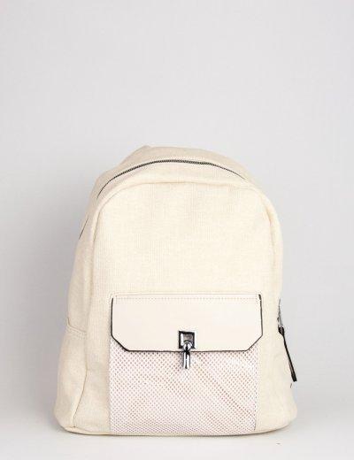 Γυναικείο εκρού οβάλ Backpack με σαγρέ σχέδιο 501328