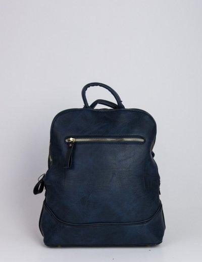 Γυναικείο μπλε οβάλ σακίδιο πλάτης με φερμουάρ 934082R