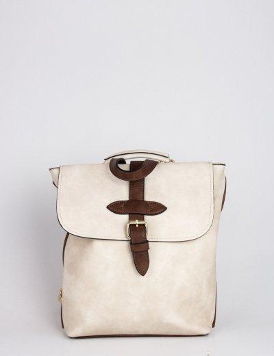 Γυναικεία μπεζ τσάντα πλάτης δερματίνη με διχρωμία 9135145