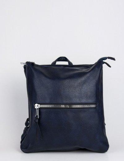 Γυναικεία μπλε τσάντα πλάτης τετράγωνη δερματίνη 796850M