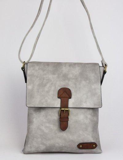 Γυναικεία γκρι τσάντα δερματίνη ταχυδρόμου 9340111