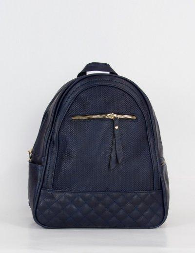 Γυναικείο μπλε Backpack μονόχρωμο δερματίνη 8550L