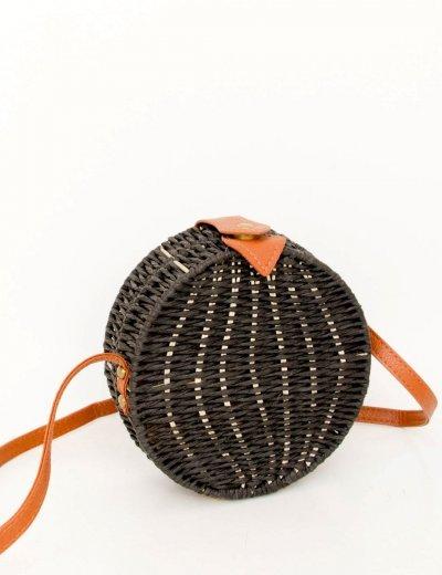 Γυναικείο μαύρο στρογγυλό τσάντακι ψάθινο MB018G