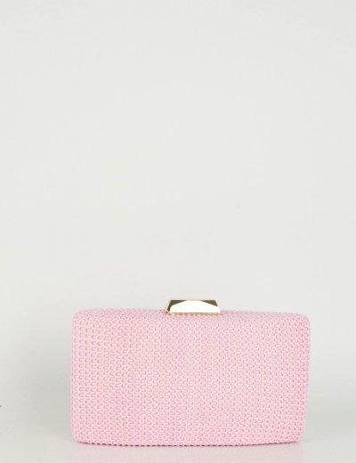Γυναικείο ροζ τσαντάκι Hardcase Clutch ψάθινο JKC12R