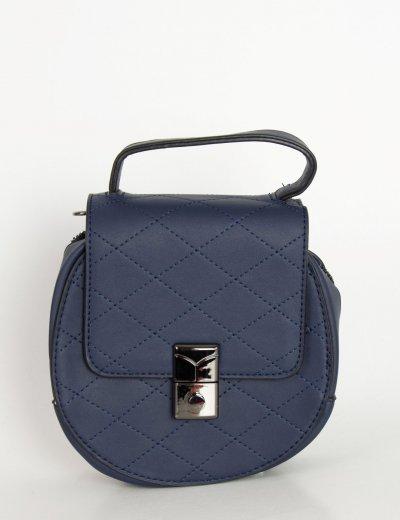 Γυναικείο μπλε μίνι στρογγυλό τσαντάκι καπιτονέ H9019