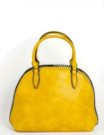 Γυναικεία ώχρα τσάντα ώμου με πλεκτή αλυσίδα 533031