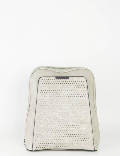 Γυναικείο γκρι οβάλ Backpack δερματίνη μονόχρωμο A032W