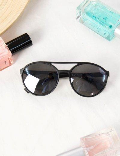 Γυναικεία μαύρα γυαλιά ηλίου οβάλ Premium S1010