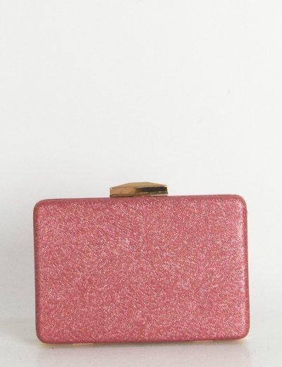 Γυναικείο μπορντό τσαντάκι Hardcase Clutch Glitter LK5659S