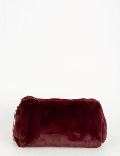 Γυναικείο μπορντό mini γούνινο τσαντάκι με λουράκι 15421L