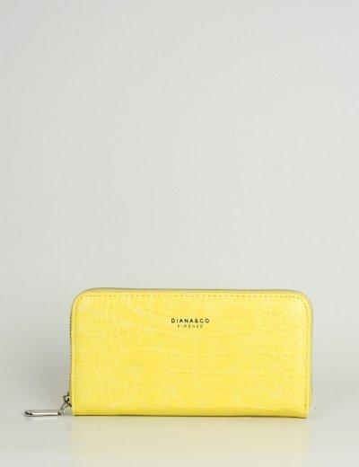 Γυναικείο κίτρινο πορτοφόλι με κρόκο σχέδιο DFX18932R