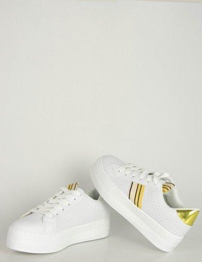 Γυναικεία λευκά κίτρινο δίπατα Sneakers κορδόνια B0238