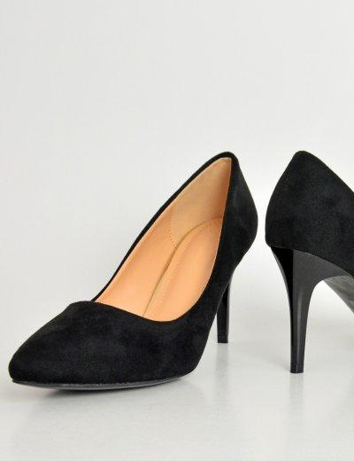 Γυναικείες σουέντ μυτερές γόβες μαύρες χαμηλό τακούνι P6345