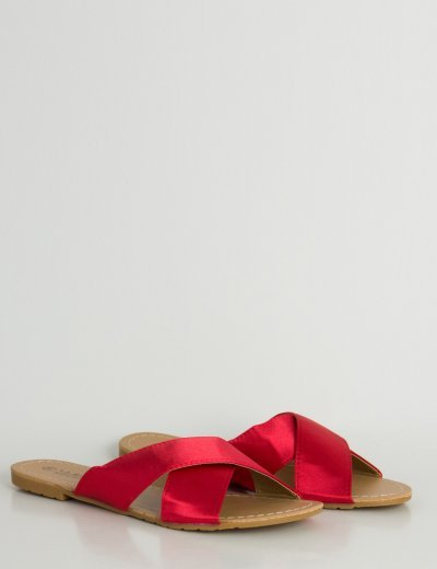 Γυναικεία κόκκινα φλατ σανδάλια σατέν χιαστί LBS6200L