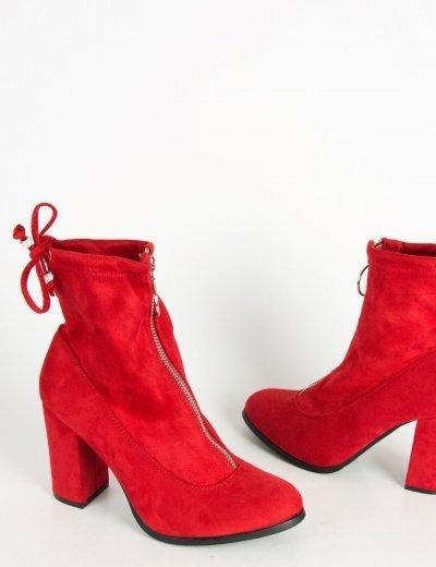 Γυναικεία κόκκινα σουέντ μποτάκια κάλτσα κρίκος φερμουάρ C7179N