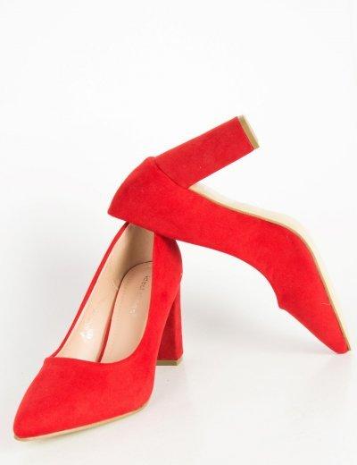 Γυναικείες κόκκινες σουέντ γόβες χαμηλό χοντρό τακούνι P6386G