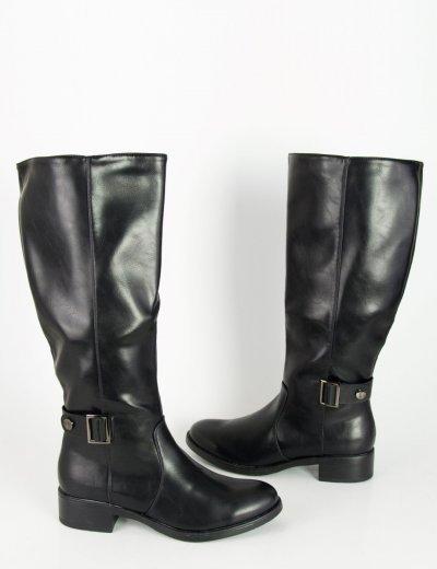 Γυναικείες μαύρες μπότες ιππασίας δερματίνη DM9069
