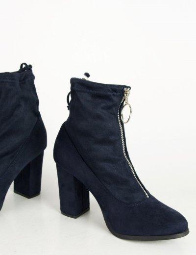 Γυναικεία μπλε σουέντ μποτάκια κάλτσα κρίκος φερμουάρ C7179K