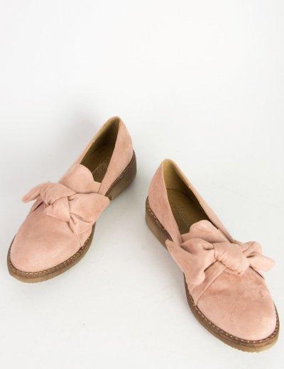 Γυναικεία slip on ροζ με φιόγκο και χαμηλό τακούνι σουέντ NF0701L