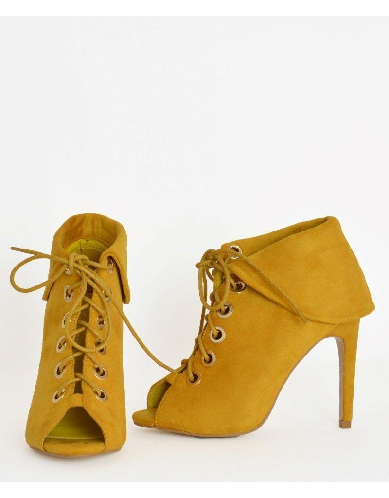 72e22a8e1b4 Γυναικεία ψηλά μποτάκια Peep Toe κίτρινα κορδόνια J8691 | topapoutsi.gr