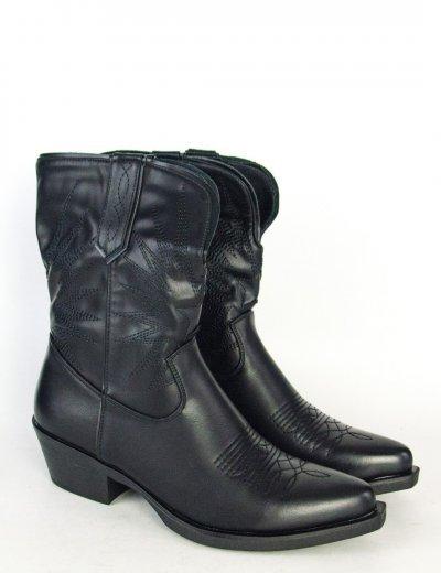 Γυναικεία μαύρα Cowboy μποτάκια δερματίνη 9000307R