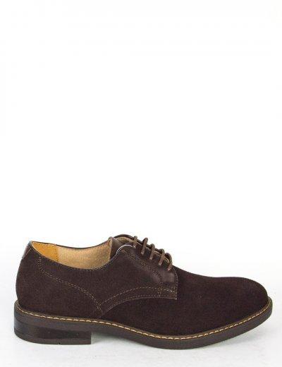 Ανδρικά καφέ σουέντ δετά παπούτσια με κορδόνια 00A920LGF