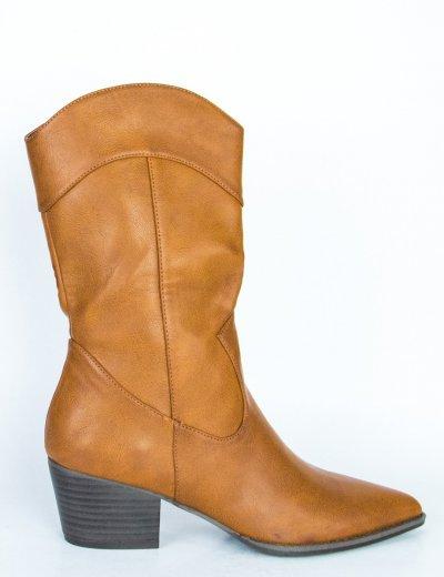 Γυναικεία κάμελ Cowboy μπότα χαμηλή N19326